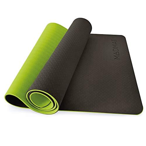 MADMAT Eco Esterilla Yoga Mat Antideslizante Profesional para Pilates Gimnasia y Fitness, TPE Ecológico Hipoalergénico, Colchoneta con Doble Capa Gruesa de 6mm, Color Verde + Incluye Bolsa