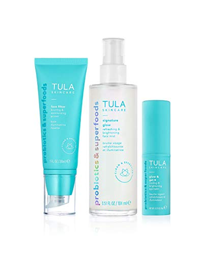 TULA Skin Care No-Makeup Skincare Essentials Kit | Face Mist, Eye Balm and Moisturizing Primer for Instantly Brighter and More Radiant-Looking Skin