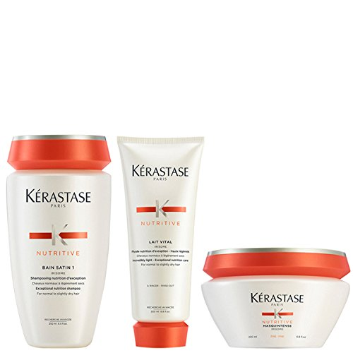 Kérastase Nutritive Bain Satin 1 250 ml+ Nutritive Lait Vital 200 ml et Masquintense Cheveux Fins 200 ml