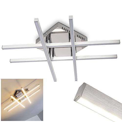 Plafonnier de salon et salle à manger à technologie LED basse consommation - Elégant luminaire intérieur aux finitions aluminium chrome - Lampe de plafond au design moderne