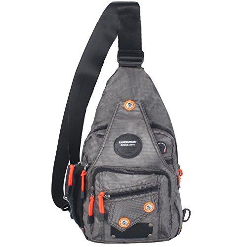 Kawei Knight Sling Bag Rucksack Brust Schulter Unbalance Gym Bag Pack, Unisex-Erwachsene, B-grau, Medium