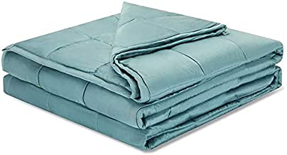 Weighted Idea Cooling Weighted Blanket 15 Pounds 60''x80'' for Queen Size Bed (Bamboo Viscose,Sea Grass Blue)