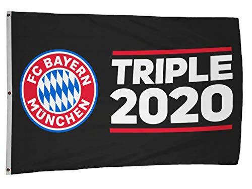 FC Bayern Fahne Triple 2020 Hiss Flagge Black Logo 120 x 180 cm Original Ware mit 3 Ösen