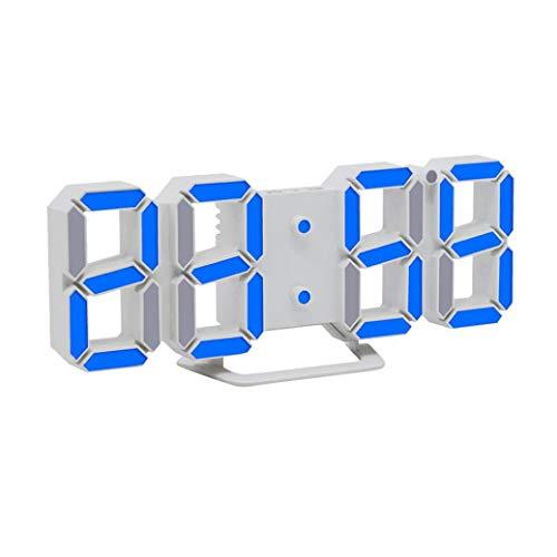 Moderne Digital LED 3D Tisch Schreibtisch Nacht Wanduhr Alarm Uhr Clock Display (BU)