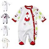 Baby Sweets Unisex Baby Strampler für Mädchen und Jungen/Baby-Overall in Grau Rot Grün als Schlafanzug und Babystrampler im HoHoHo-Motiv für Neugeborene und Kleinkinder in der Größe: Newborn (56)