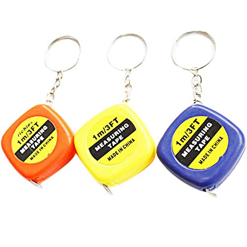 alignmentpai Mini Keychain Key Ring Easy Retractable Tape Measure Pull Ruler 1M/3FT Gifts Random Color