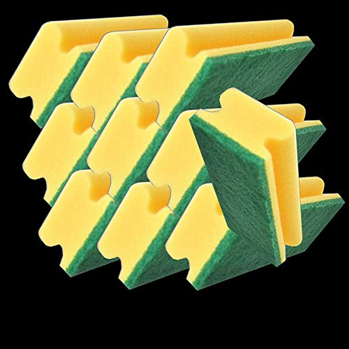 Reinex PAD Schwamm mit Griff 10 Stück - Putzschwamm Spülschwamm zweiseitiger Küchenschwamm mit Griffleiste Reinigungsschwamm Fleckenentferner