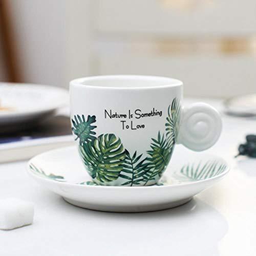 RHWZM Kaffeetassen Keramiktasse Tasse Enordeuropa Fresh Style 90Ml Espressotasse Mit Tablett Blatt Frost Kleine Italienische Schwarze Kaffeetasse, Mattiert, 90Ml