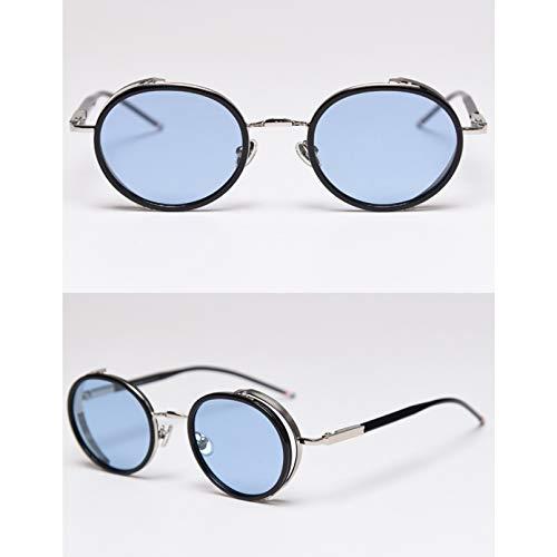 SXRAI Gafas de sol ovaladas para hombre polarizadas oro metal mujeres gafas de sol Uv400, C2