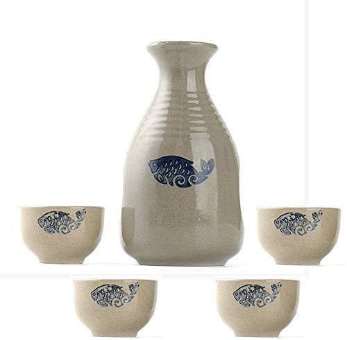 SAFGH Juego de tazas de Sake de 5 piezas, diseño de patrón de pez pintoresco Pintado a Mano Tradicional, para frío/Caliente/Shochu/té
