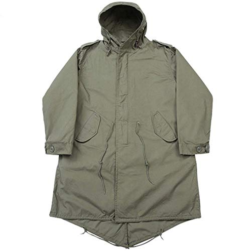 UNILETS OD Military M-51 Vintage Army Fishtail Parka Jacket with Liner. (L, Olive Drab)