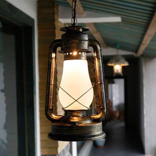 Mumnk Retro Petroleumlampe Antik Vintage E27 Metall Pendelleuchten Kronleuchter Alte Glaslaterne Industrielle Ländliche Bar Cafe Scheune Fabrik Einstellbare Hängeleuchte (Größe : 20 * 38cm)