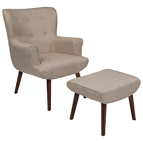 Flash Furniture Bayton Upholstered Wingback Chair with Ottoman in Beige Fabric
