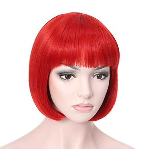 OneDor 10' Short Straight Hair Flapper Cosplay Costume Bob Wig (Red)