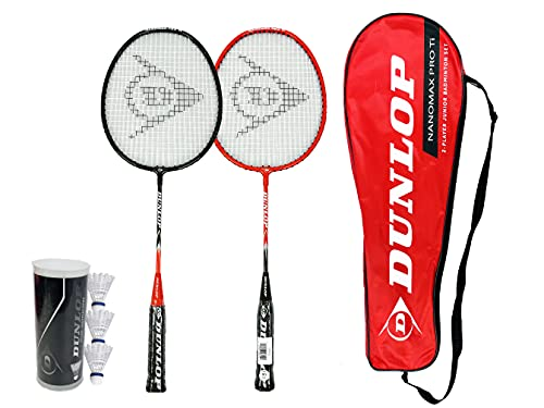 Dunlop Nanomax Pro Ti 2 Junior Player Badminton Set inc 3 Shuttles and Carry Case