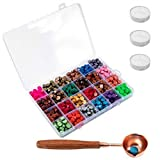 Waloden 656 Pieces Hexagon Sealing Wax Beads with 3 Pieces Tea Candles and a Wooden Handle Wax Melting Spoon 24 Colors 25 Pieces Each Color