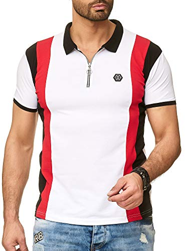 Redbridge Herren Kurzarm T-Shirt Streifen Look Casual Poloshirt Stretch Shirts