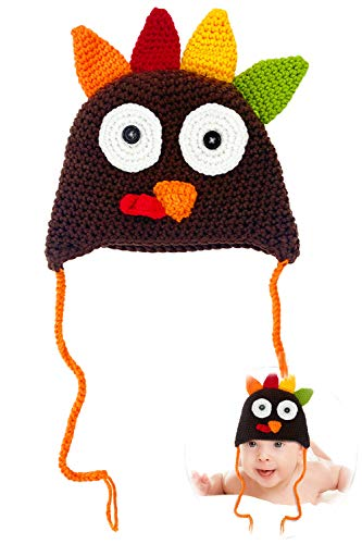 Camlinbo Baby Knitted Turkey Hat Cap Newborn Photography Prop Outfit Thanksgivings Costume 0-24Months Green