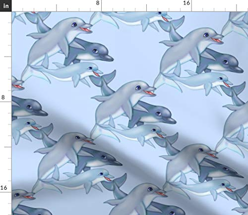 Spoonflower Fabric - Dolphin Family Wildlife Sea Life Animal Swim Ocean Printed on Petal Signature Cotton Fabric by The Yard - Sewing Quilting Apparel Crafts Decor