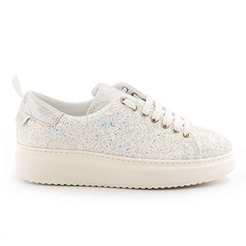Stokton - White and Turquoise Glitter Sneakers - BURMAGLITTER Bianco - 35