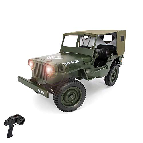 Himoto HSP Willy's MB Jeep 1/10 RC 2.4 GHz radiocomandato 4WD Off-Road militare Army Truck Crawler veicolo furgone RTF