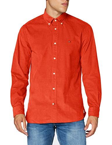 Tommy Hilfiger Herren Flex Corduroy Shirt Hemd, Tucson Orange, L