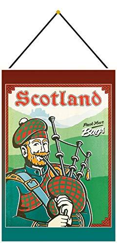 Blechschild mit Kordel 30 x 20 cm Scotland - Puck Your Bags - Blechemma