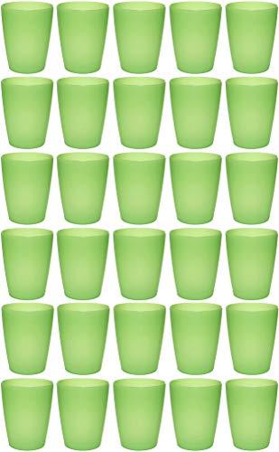 idea-station NEO Kunststoff-Becher 30 Stück, 250 ml, grün, mehrweg, bruchsicher, stapelbar, Party-Becher, Plastik-Becher, Mehrweg-Becher, Wasser-Gläser, Trink-Gläser