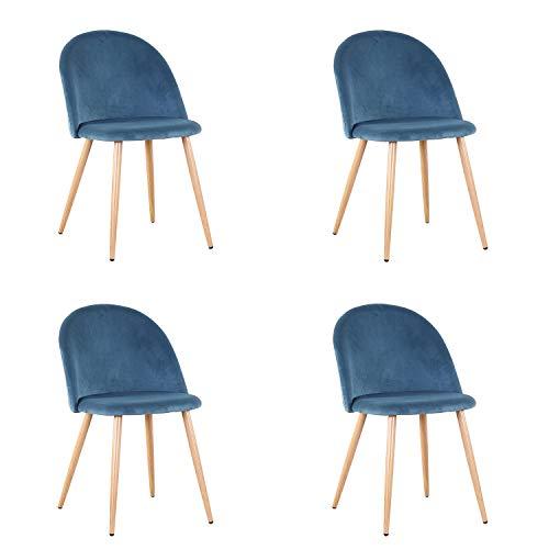 GrandCA Pack de 2/4 sillas de Comedor ,Cojines de Terciopelo Suave Asiento,Sillas de Cocina para Comedor y Sala de Estar (Azul-4)