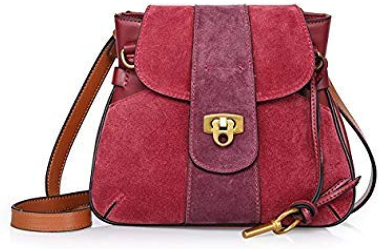 Bloomerang Fair Lady Bag for Birthday Gift Genuine Leather Split Leather Matte Vintage Shoulder Bag Women Party Messenger Crossbody Bags color A