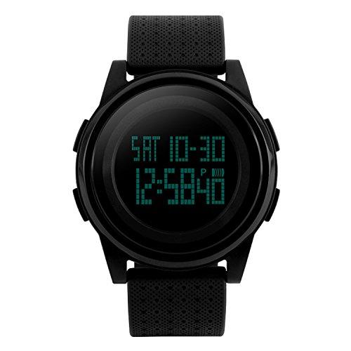 para Hombre Reloj Deportivo Digital LED Pantalla Militar Relojes, Ultra Thin Impermeable Casual ejército Reloj Negro