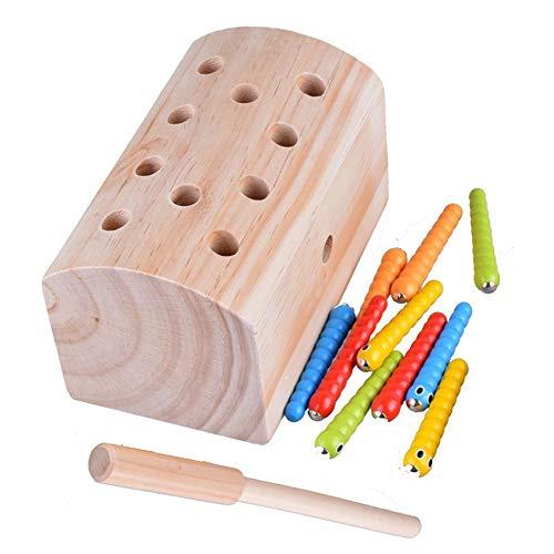 Xrten Magnetisch Fang Insekten Spiel Holzspielzeug,Kinder Pädagogische Montessori Spielzeug Holz Spielzeug