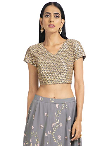 Indya Georgette Long cholis Saree Blouse (ITP00618_Grey_X-Small)