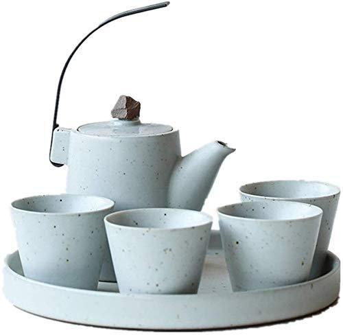 XYSQWZ Juego De Tazas De Té Juego De Tazas De Café Tetera Simple De Porcelana para El Hogar Estilo Japonés con Asa Y Juego De Tazas De Té Servicio para 4 Adultos Juego De Taza Y Platillo De Té