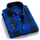 Camisetas De Franela Cepillada 100% Algodón para Hombres De Un Solo Bolsillo De Manga Larga Slim-Fit Casual Plaid Camisa A Cuadros Casual (Color : T0C01 22, Size : XL.)