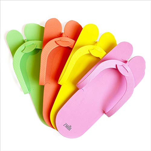 Pedicure Slippers – EVA Foam 12 Pairs – One Size Fits All Disposable Anti-Slip Flip Flops for Pedicure – Comfortable and Safe – 4 Fun Colors – Ideal for Spa, Nail Salon