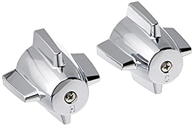 DANCO Easy-to-Install Pair of Faucet Handles for Central Brass, Chrome, 2-3/4-Inch x 2-3/8-Inch, 1-Pair (88264)