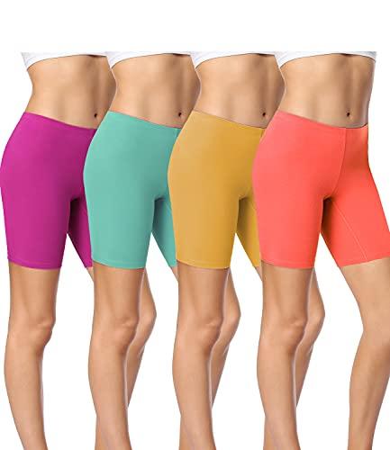 wirarpa Women's Cotton Boy Shorts Underwear Long Leggings Under Shorts Anti Chafe Bloomers Multicolor 4 Pack Size XL