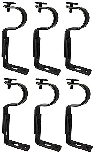 TEJATAN Adjustable Curtain Rod Brackets - Black (Set of 6) (Also Known as - Curtain Rod Holder/Bracket for Drapery Rod/Window Drapery Rod Bracket Set for Draperies/Adjustable Curtain Rod Brackets)