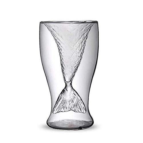 Binghai Vaso de chupito de sirena para whisky 100 ml doble pared taza de vidrio con diseño creativo para jugo de cóctel transparente