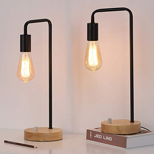 Edison Table Lamp, Industrial Bedside Lamps Set of 2, Wood Desk Lamp Pairs for nightstand Dressers Coffee Table Study Desk in Bedroom, Guest Room