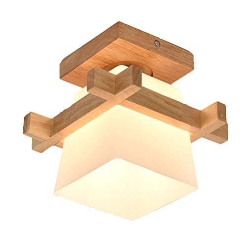 OSALADI Decke Massivholz Lampen Japanische Deckenleuchte Schatten für Schlafzimmer Halle Balkon Wohnzimmer (Einzelner Lampenkopf ohne Glühbirne)