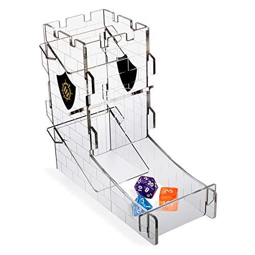 ENHANCE Torre de Dados, Bandeja para Juegos de Rol de Mesa - Diseño de Torre de Castillo, Rodillo de Dados Portátil, Rollo de Hasta 14 Dados Estándar a la Vez - Bandeja Rodante de Castillo Grabado