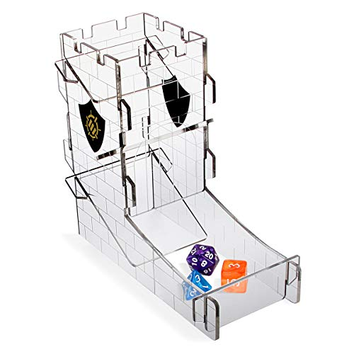 ENHANCE Würfelturm Würfelschale für Tabletop-RPG-Spiele - Schlossturm Design, Tragbarer Würfelroller, Wirf bis zu 14 Standardwürfel auf Einmal - Geätztes Design Ideal für Game Nights
