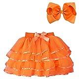 BGFKS 4 Layered Tulle Tutu Skirt for Girls with Hairbow or Birthday Sash,Girl Ballet Tutu Skirt (Orange, 4-5 Years)
