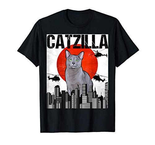 Funny Vintage Japanese Catzilla Russian Blue Cat T-Shirt
