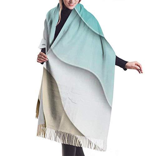 Tapiz, Bufanda con Flecos, Manta, Accesorios de Vestidos, Fondo de Verano de Playa de mar Azul Abstracto Bufanda Grande Premium Bufandas de Mujer