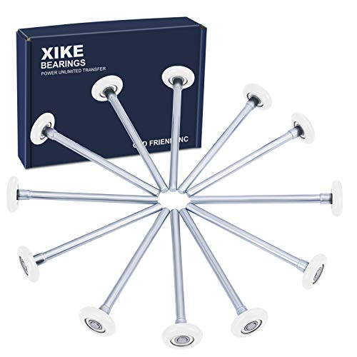 "XiKe 12 Pack 2"" in Nylon Garage Door Roller Use 6200ZZ Shield Bearing, Rotate Quiet and Durable, 4"" in Stem and Reuse More Than 100,000 Cycles - White."