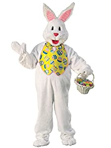 Deluxe Mascot quality Bunny costume features large, plush body with vibrant yellow vest and matching bow-tie Removable headpiece with pink lined ears Mittens included; basket available separately IMPORTANT: Costumes are sized differently than apparel...