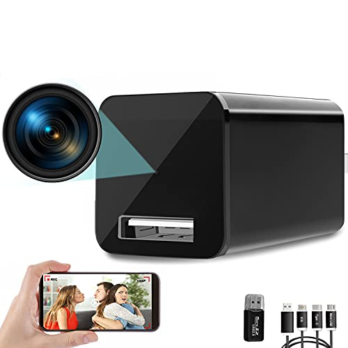 Hidden Camera Charger WiFi,USB Spy Camera Charger,Spy Cameras Wireless Hidden 1080P HD Live Streaming with App, Nanny Cam Motion Activated, with 32GB MicroSD Card Class 10